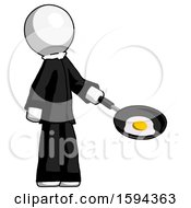 White Clergy Man Frying Egg In Pan Or Wok Facing Right