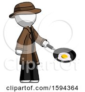 White Detective Man Frying Egg In Pan Or Wok Facing Right