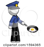 White Police Man Frying Egg In Pan Or Wok Facing Right