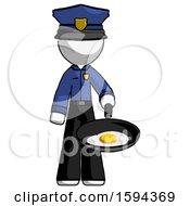 Poster, Art Print Of White Police Man Frying Egg In Pan Or Wok
