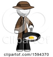 White Detective Man Frying Egg In Pan Or Wok