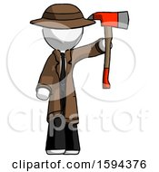 White Detective Man Holding Up Red Firefighters Ax