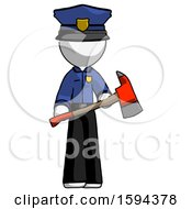 White Police Man Holding Red Fire Fighters Ax