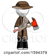White Detective Man Holding Red Fire Fighters Ax