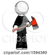 White Clergy Man Holding Red Fire Fighters Ax