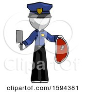 White Police Man Holding Large Steak With Butcher Knife