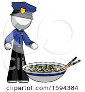 White Police Man And Noodle Bowl Giant Soup Restaraunt Concept