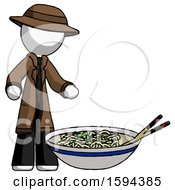 White Detective Man And Noodle Bowl Giant Soup Restaraunt Concept