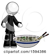 White Clergy Man And Noodle Bowl Giant Soup Restaraunt Concept