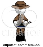 White Detective Man Serving Or Presenting Noodles