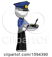 White Police Man Holding Noodles Offering To Viewer