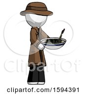 White Detective Man Holding Noodles Offering To Viewer