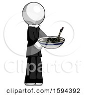 White Clergy Man Holding Noodles Offering To Viewer