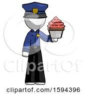 White Police Man Presenting Pink Cupcake To Viewer