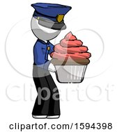 White Police Man Holding Large Cupcake Ready To Eat Or Serve
