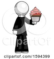 White Clergy Man Presenting Pink Cupcake To Viewer