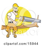 Male Arborist Sitting On A Tree Branch And Using A Saw To Trim It Clipart Illustration