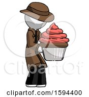 White Detective Man Holding Large Cupcake Ready To Eat Or Serve