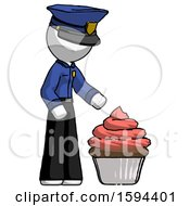 White Police Man With Giant Cupcake Dessert