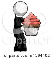 White Clergy Man Holding Large Cupcake Ready To Eat Or Serve