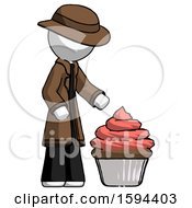 White Detective Man With Giant Cupcake Dessert
