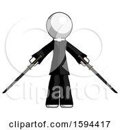 White Clergy Man Posing With Two Ninja Sword Katanas