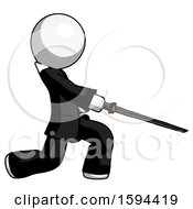 White Clergy Man With Ninja Sword Katana Slicing Or Striking Something