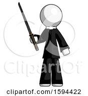 White Clergy Man Standing Up With Ninja Sword Katana