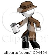 White Detective Man Begger Holding Can Begging Or Asking For Charity Facing Left