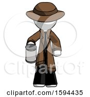 White Detective Man Begger Holding Can Begging Or Asking For Charity
