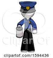 White Police Man Begger Holding Can Begging Or Asking For Charity