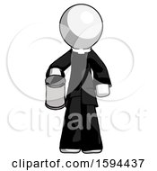 White Clergy Man Begger Holding Can Begging Or Asking For Charity