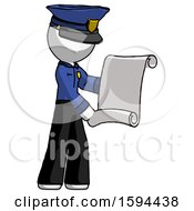 White Police Man Holding Blueprints Or Scroll
