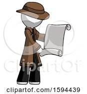 White Detective Man Holding Blueprints Or Scroll
