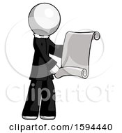 White Clergy Man Holding Blueprints Or Scroll
