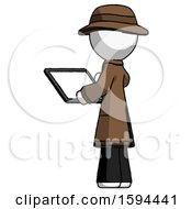 White Detective Man Looking At Tablet Device Computer With Back To Viewer