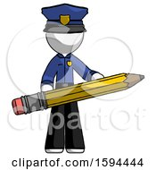 White Police Man Writer Or Blogger Holding Large Pencil