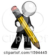 White Clergy Man Writing With Large Pencil