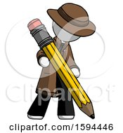 White Detective Man Writing With Large Pencil