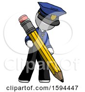 White Police Man Writing With Large Pencil