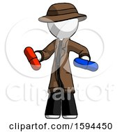 White Detective Man Red Pill Or Blue Pill Concept