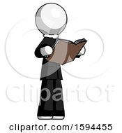 White Clergy Man Reading Book While Standing Up Facing Away