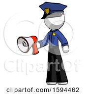 White Police Man Holding Megaphone Bullhorn Facing Right
