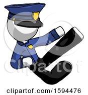 White Police Man Flying Ninja Kick Right