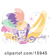 Pretty Showgirl Wearing Feathers And Fruit On Her Head Clipart Illustration by Andy Nortnik