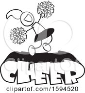 Clipart Of A Cheerleader Jumping With Pom Poms Over Text Royalty Free Vector Illustration