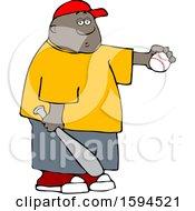 Clipart Of A Cartoon Black Boy Athlete Holding A Baseball And Bat Royalty Free Vector Illustration by djart