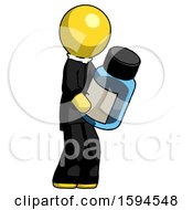 Yellow Clergy Man Holding Glass Medicine Bottle