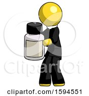 Yellow Clergy Man Holding White Medicine Bottle