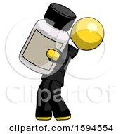 Yellow Clergy Man Holding Large White Medicine Bottle